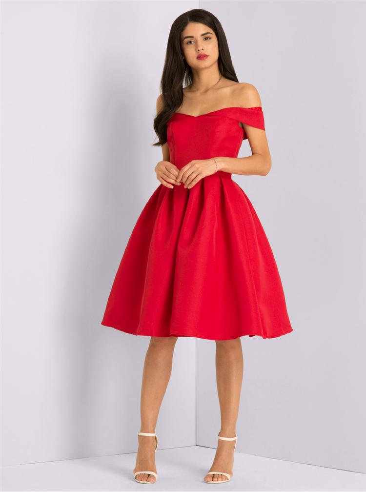 Rochie rosie cu decolteu amplu pe umeri - Chi Chi London Jade