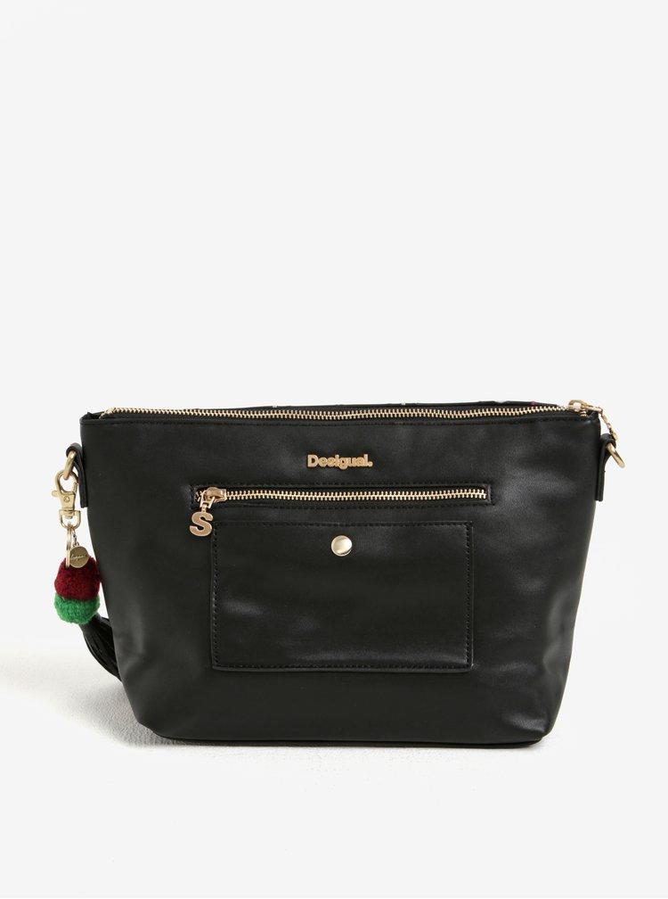 Ružovo–čierna vzorovaná crossbody kabelka Desigual Catania Boby