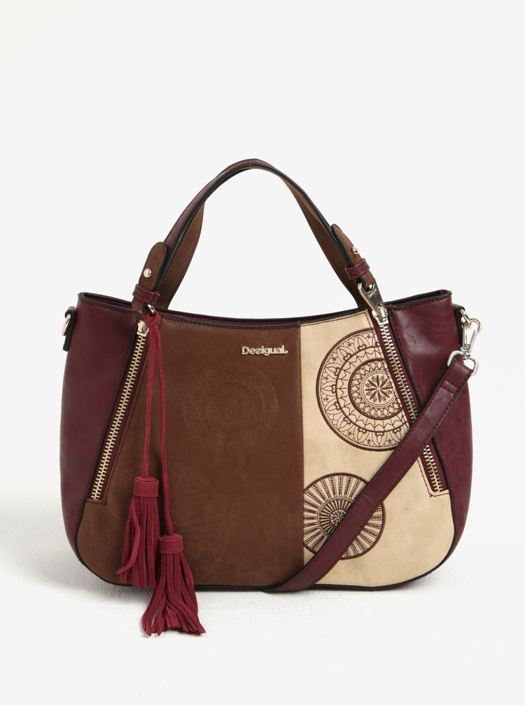 Béžovo-vínová vzorovaná kabelka do ruky/crossbody kabelka Desigual Santa Lucia Alma