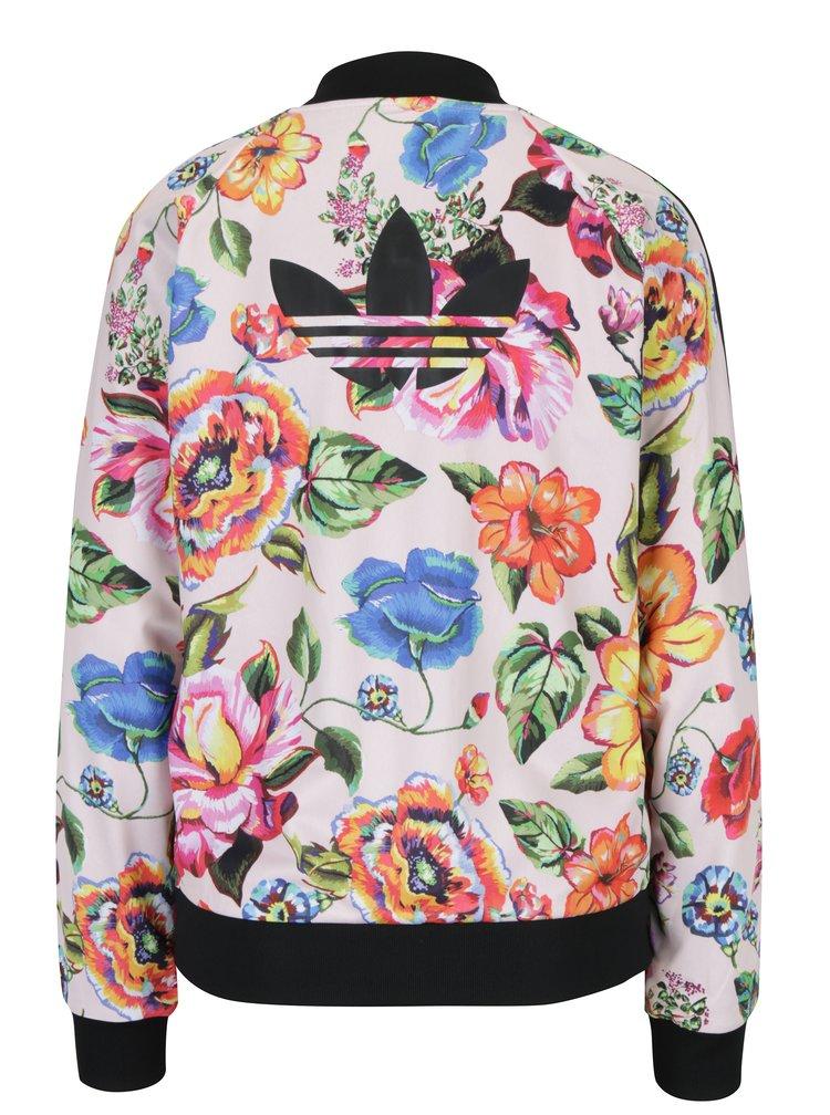 Jacheta bomber roz cu print floral si logo  adidas Originals Floralita