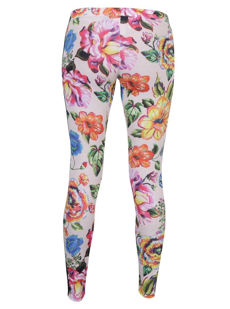 Colanti roz cu print floral, logo si dungi laterale adidas Originals Floralita