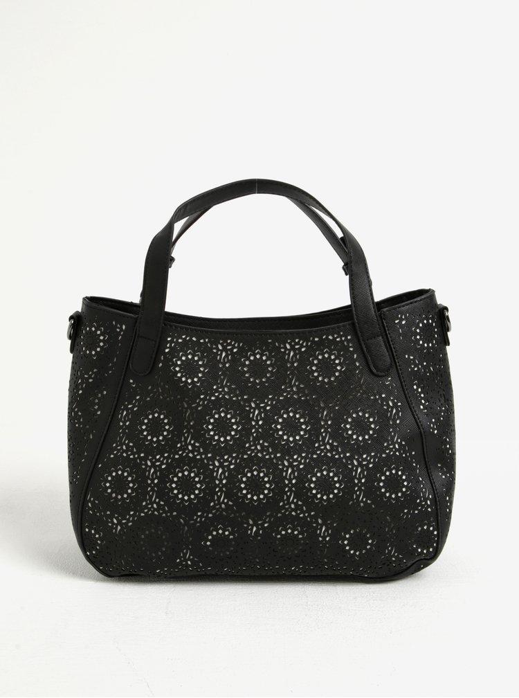 Bílo-černá vzorovaná kabelka do ruky/crossbody kabelka Desigual Santa Lucia Sandra