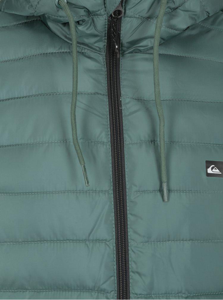Zelená pánská prošívaná voděodpudivá bunda Quiksilver