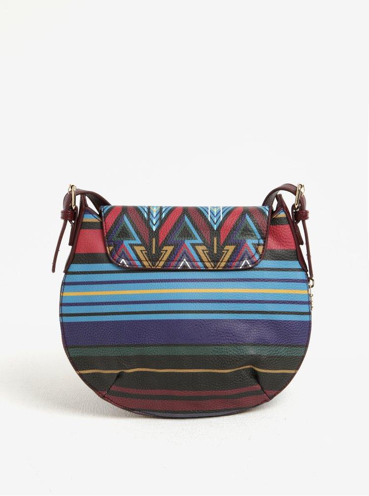 Vínovo-modrá crossbody kabelka s aztéckým vzorem Desigual Genova Stripes