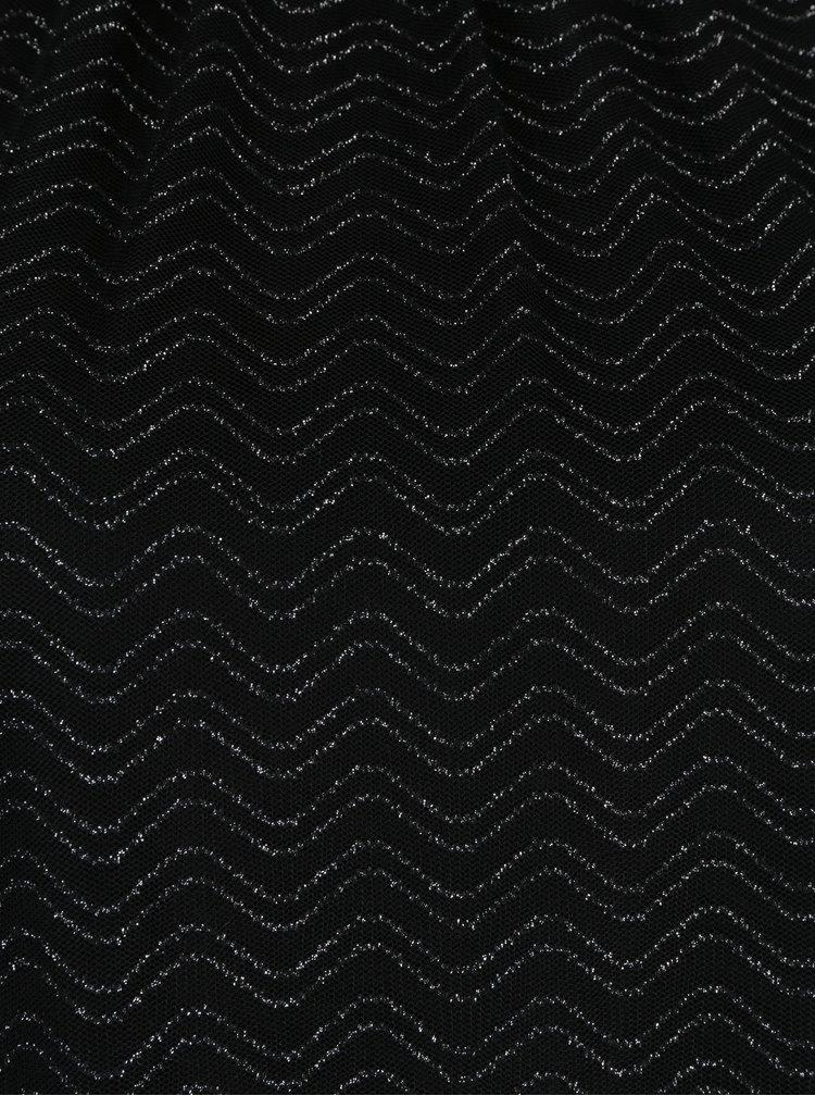 Černý volný top s třpytivými detaily ve stříbrné barvě ONLY Kailee