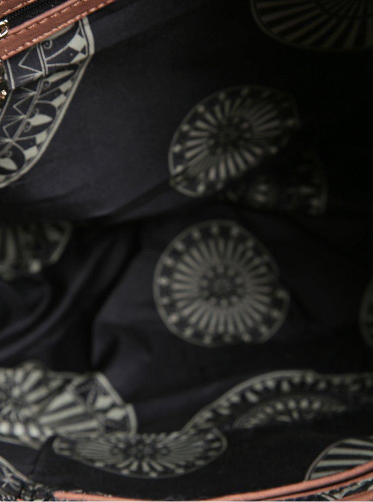 Geanta shopper/ crossbody crem cu negru cu ciucure roz prafuit Desigual Oporto Alma