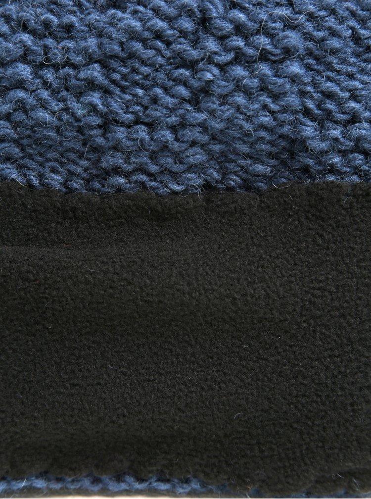 Modrá vlněná pletená čepice s jemným vzorem Tranquillo Tea