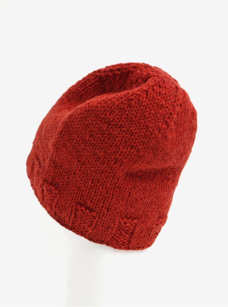 Cihlová vlněná pletená čepice Tranquillo Oda