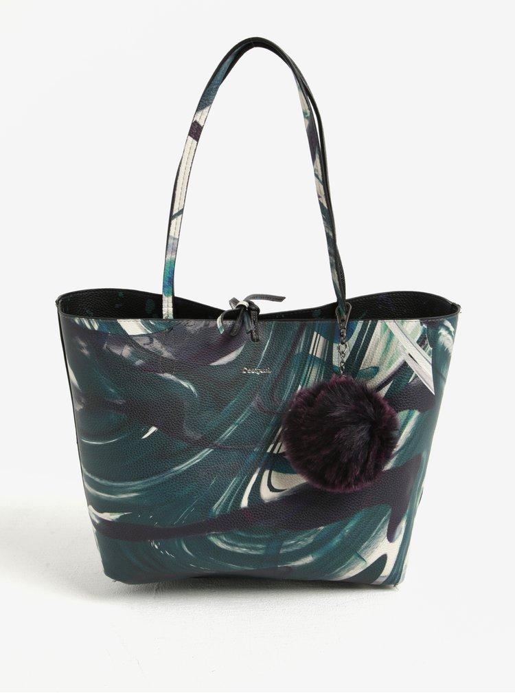 Zelený vzorovaný shopper/crossbody kabelka 2v1 Desigual Capri Split