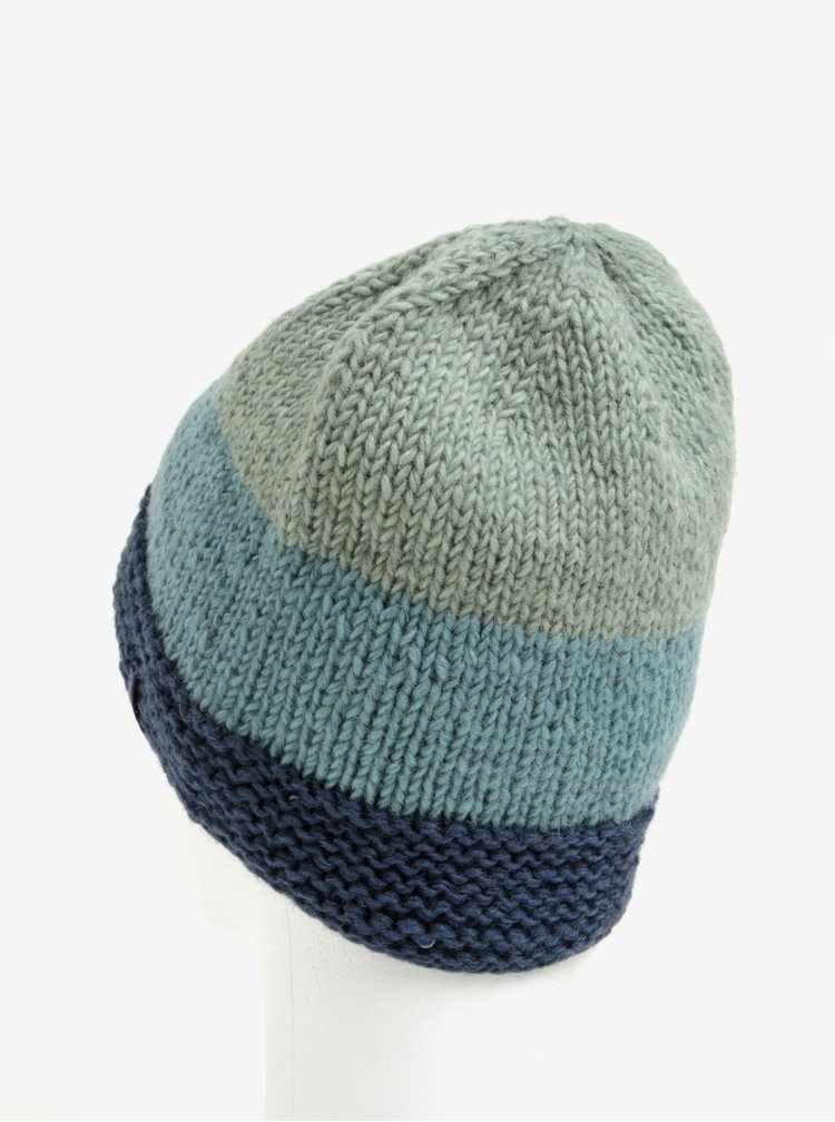 Zeleno-modrá vlněná pruhovaná čepice Tranquillo Maia