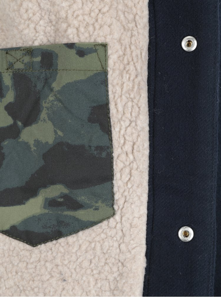 Jacheta albastru inchis cu blana artificiala Quiksilver