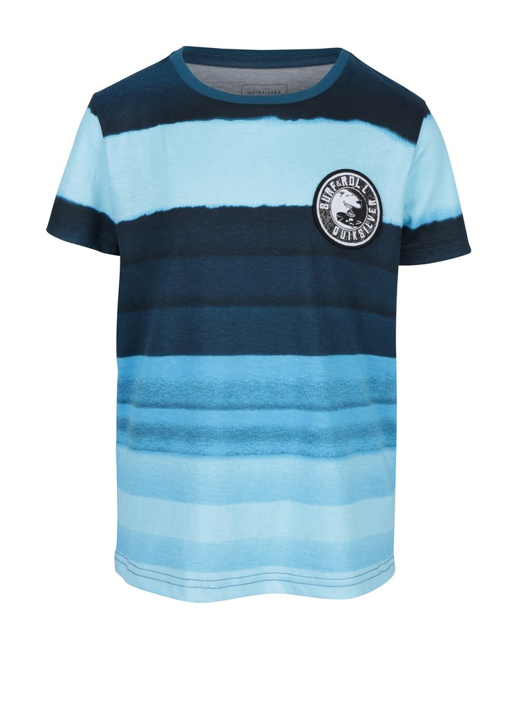 Modré pruhované klučičí regular fit tričko s nášivkou Quiksilver