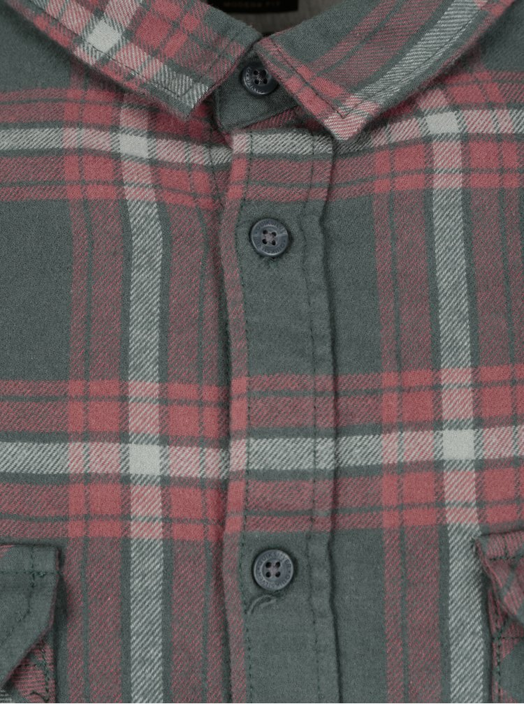 Zeleno-červená pánská flanelová modern fit košile Quiksilver