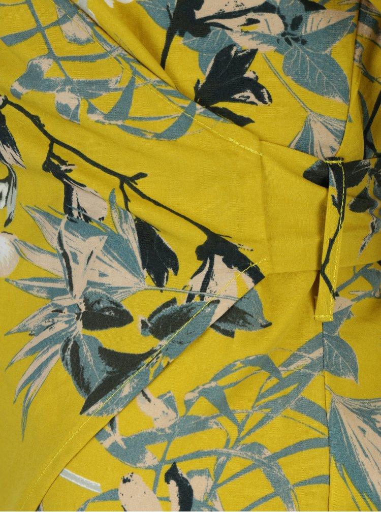 Žlutá květovaná zavinovací halenka VILA Sephora