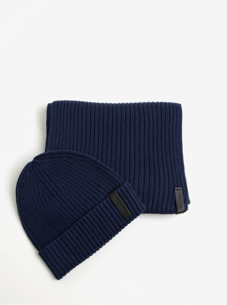 Tmavě modrý pánský set čepice a šály Calvin Klein Jeans Octave