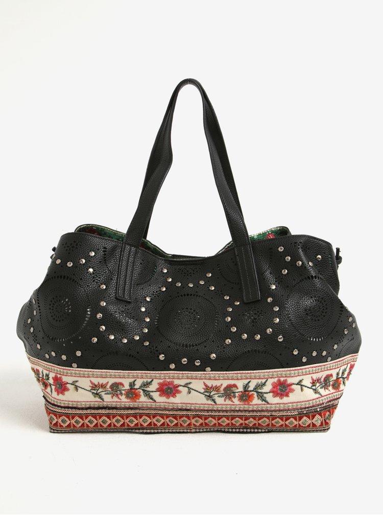 Krémovo-černá vzorovaná kabelka s cvočky Desigual Boston Olimpic