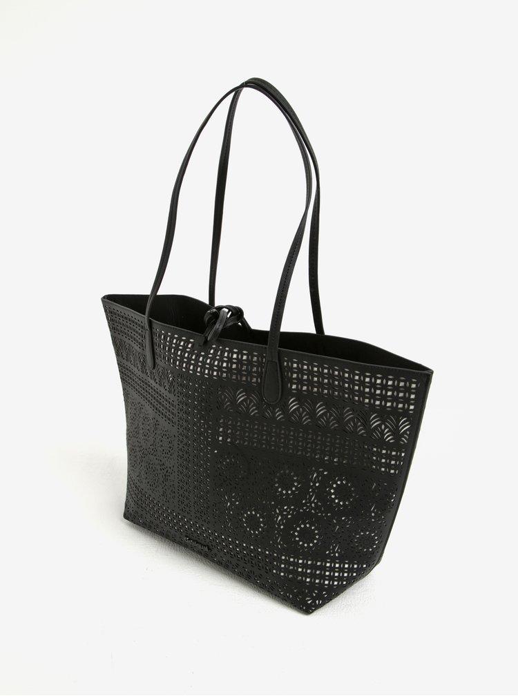 Bílo-černý vzorovaný shopper 2v1 Desigual Scapri No Revers Sandra