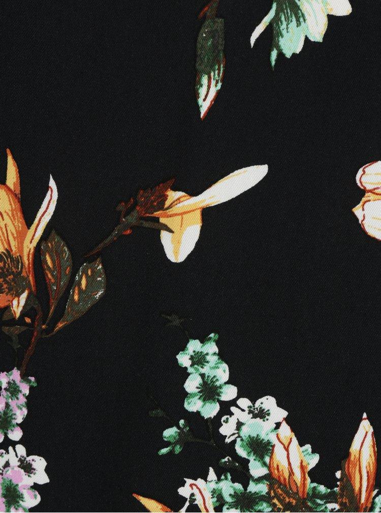 Černá květovaná halenka s véčkovým výstřihem VILA Magnolia