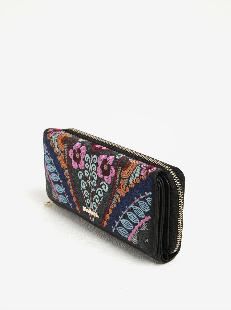Růžovo-černá květovaná peněženka Desigual Maria Pika