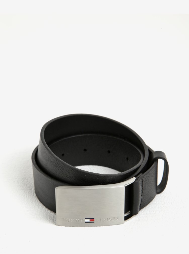 Černý pánský kožený pásek Tommy Hilfiger Plaque