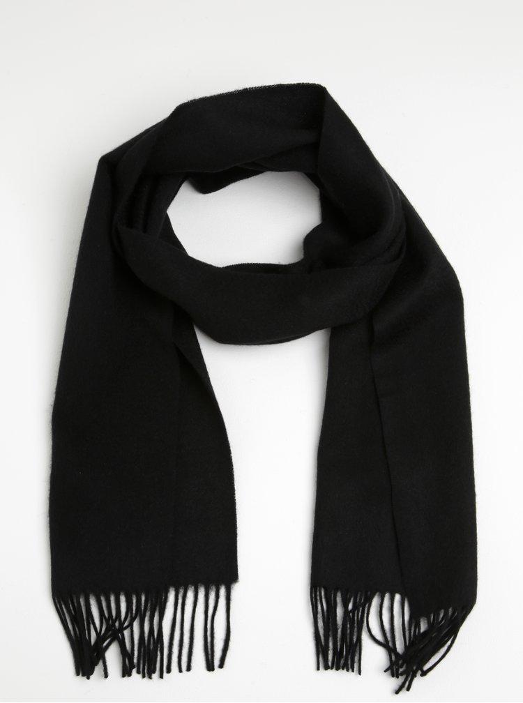 Esarfa neagra din lana cu ciucuri pentru barbati - Lindbergh