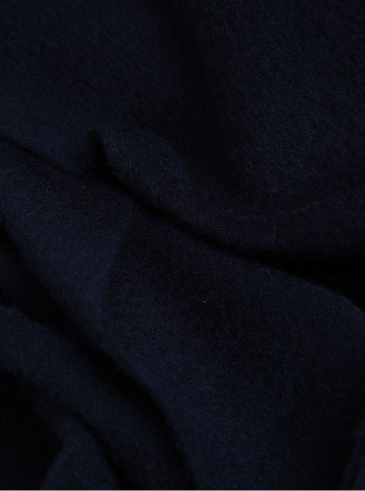 Tmavě modrá vlněná šála s třásněmi Lindbergh