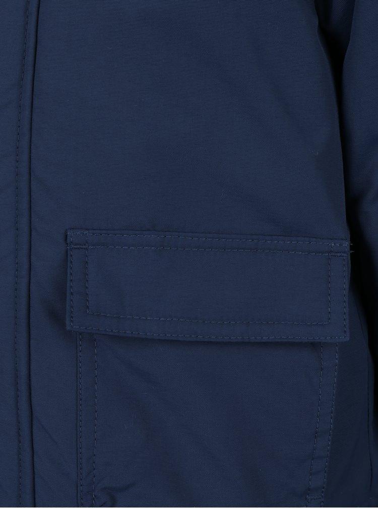 Tmavě modrá klučičí bunda s umělým kožíškem Quiksilver