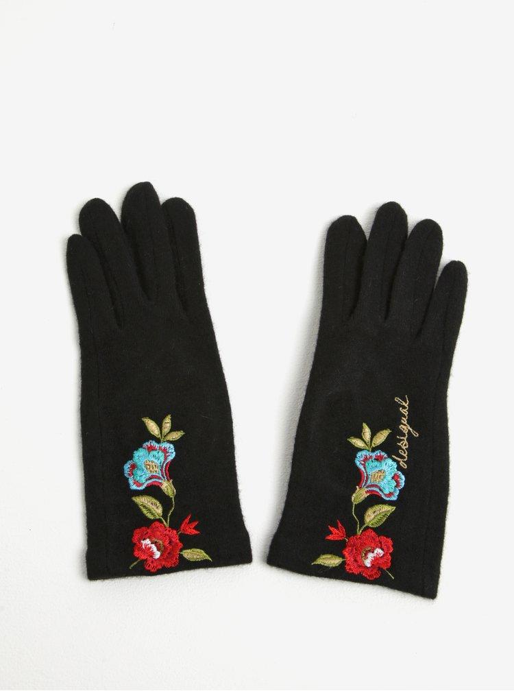 Černé vlněné rukavice s květovanou nášivkou Desigual Caribou