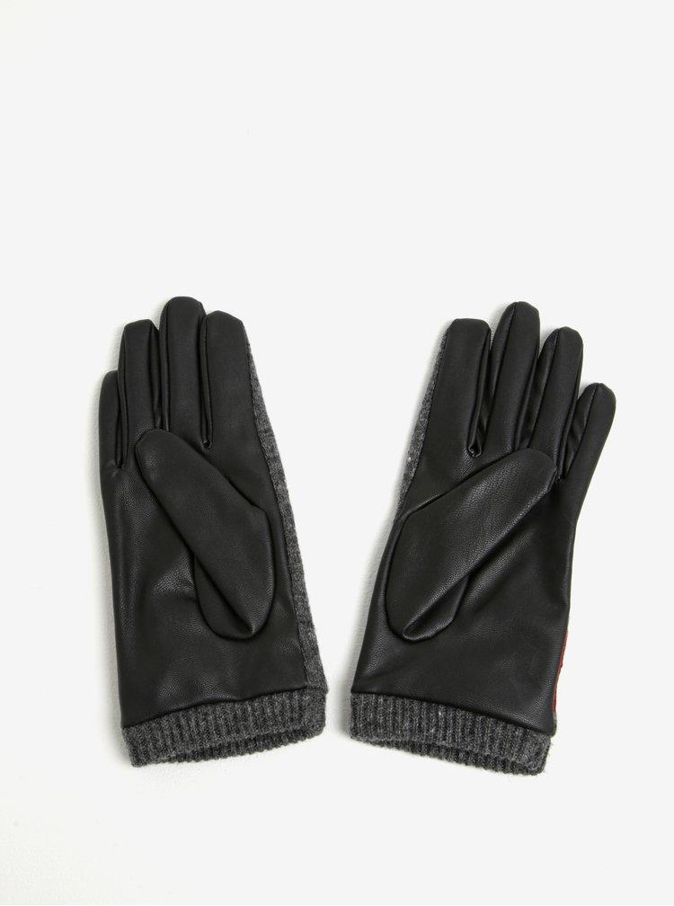 Čierno-sivé rukavice s prímesou vlny Desigual Red Flowers