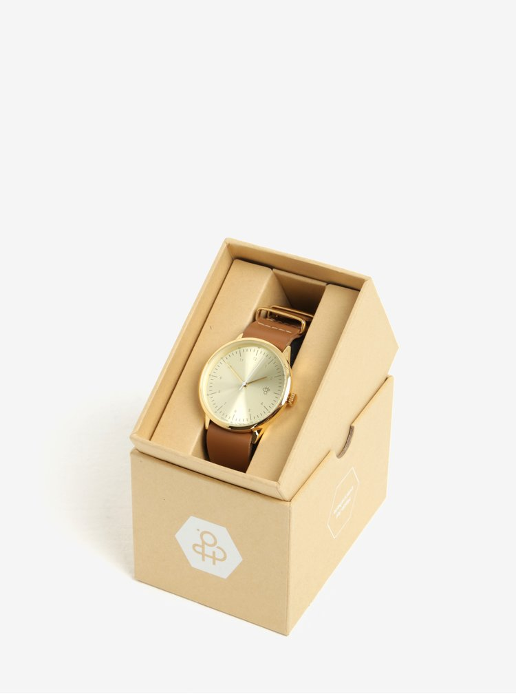 Ceas de dama auriu cu curea maro din piele CHPO Harold
