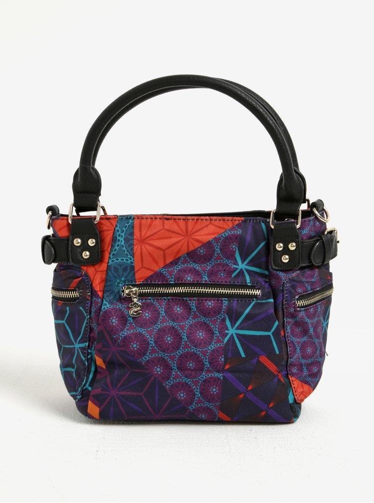 Fialová vzorovaná kabelka do ruky/crossbody kabelka Desigual Mcbee Mini Erika