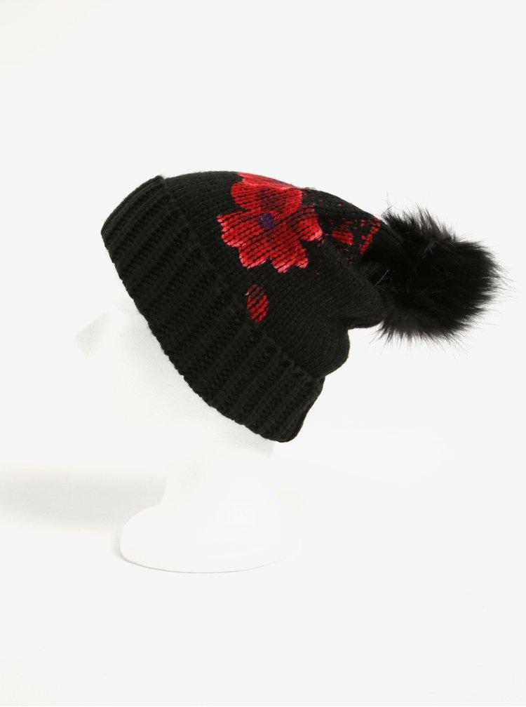 Čierna čiapka s červenými kvetmi a brmbolcom Desigual Red Flowers