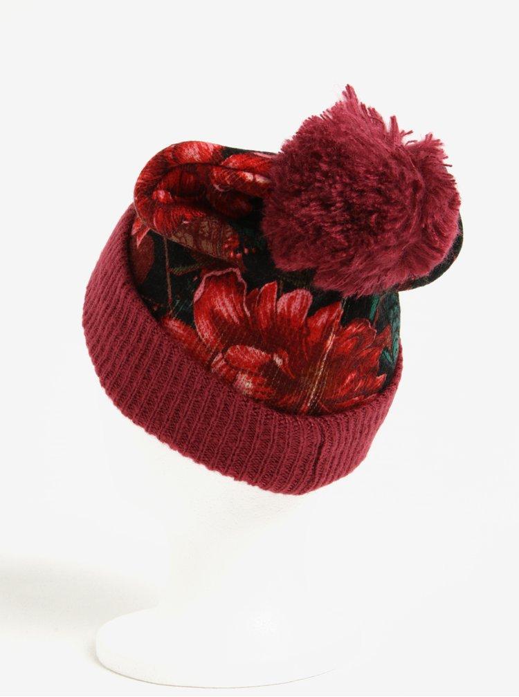 Vínová pletená čiapka s farebnými kvetmi a brmbolcom Desigual Troy