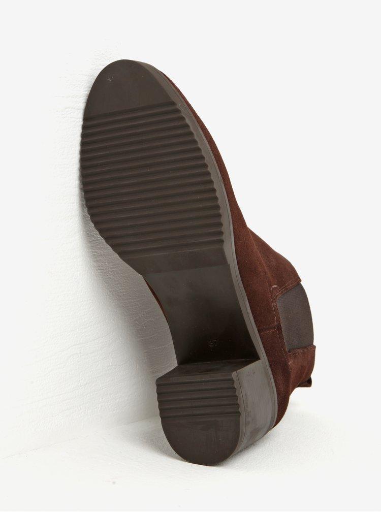 Tmavě hnědé semišové chelsea boty na podpatku OJJU