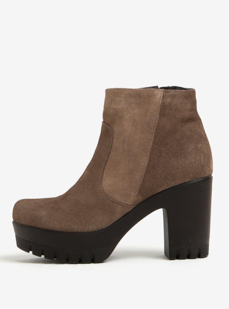 Světle hnědé semišové kotníkové boty na platformě OJJU