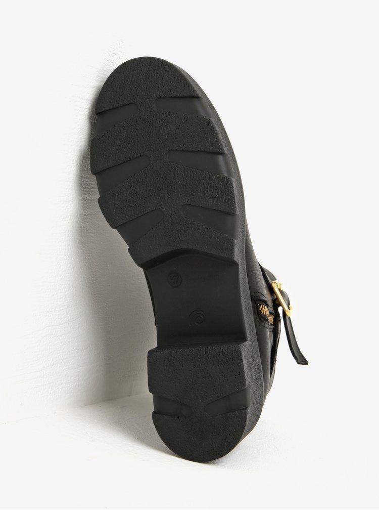 Botine negre din piele cu platforma si catarame aurii - OJJU