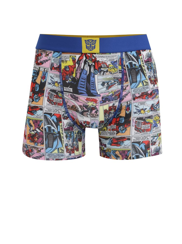Modré pánské boxerky s potiskem Transformers Freegun