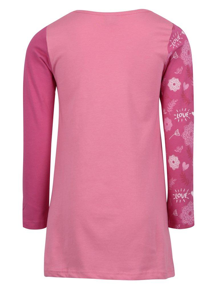 Růžové holčičí šaty s dlouhým rukávem Venere