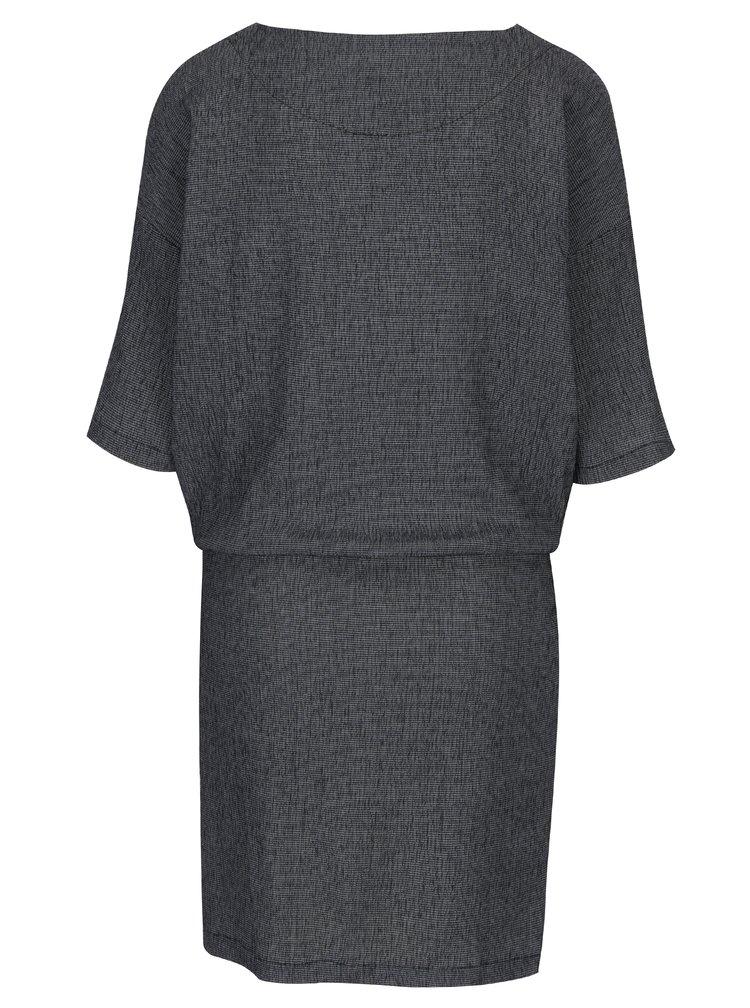 Tmavě modré vzorované šaty s netopýřími rukávy SKFK