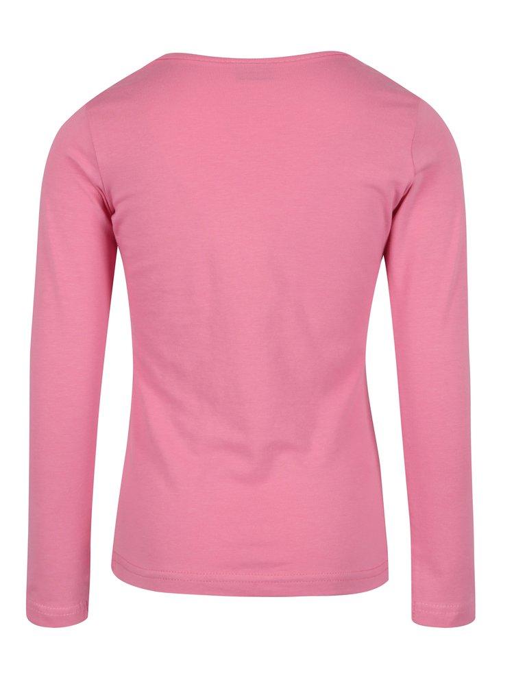 Růžové holčičí tričko s dlouhým rukávem a flitry Venere