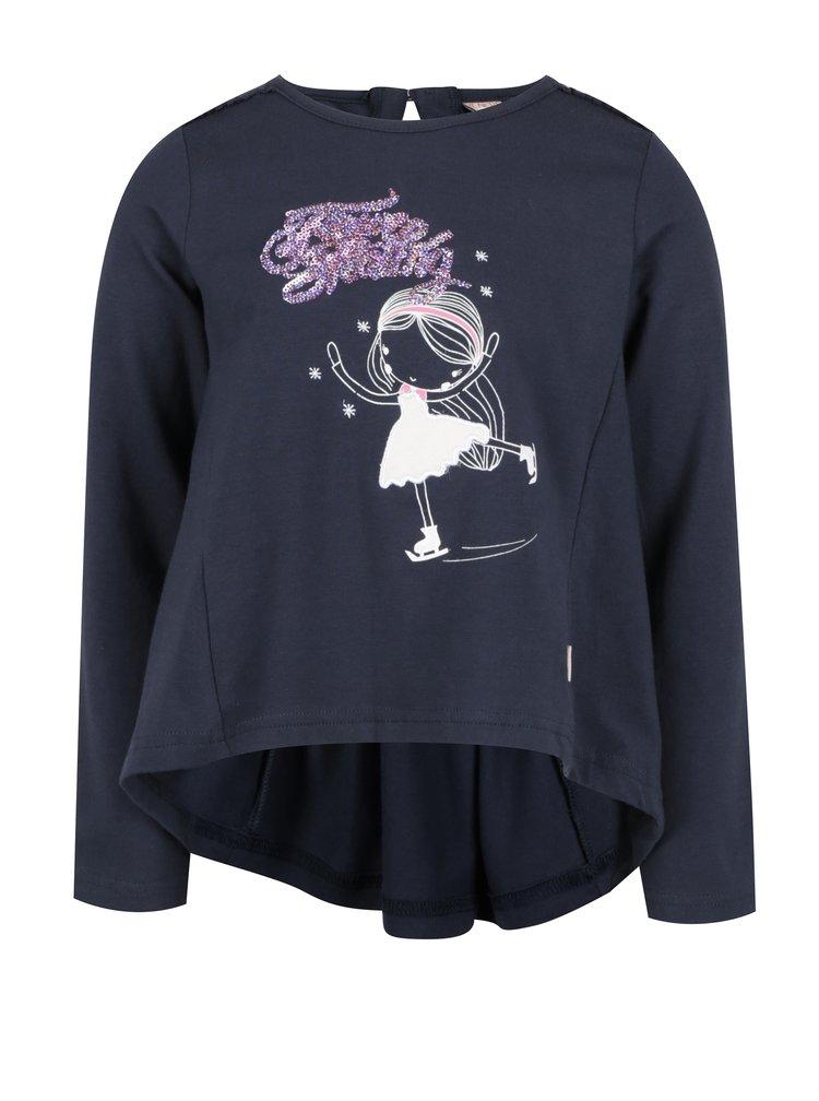 Tmavě modré holčičí tričko s dlouhým rukávem a prodlouženou zadní částí Venere