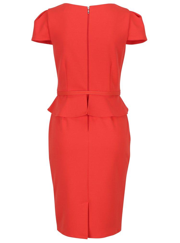 Červené šaty s volánem a páskem Paper Dolls