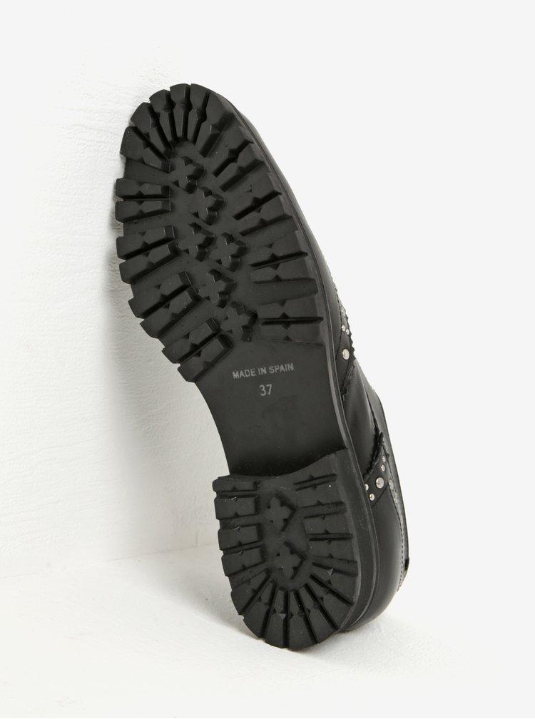 Černé dámské kožené polobotky s plastickými detaily OJJU
