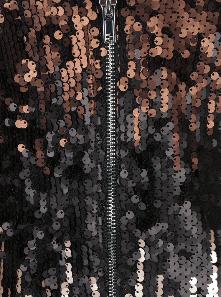Černé šaty s barevnými flitry a 3/4 rukávem Little Mistress