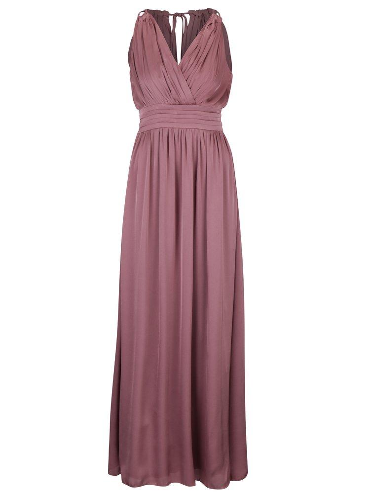 Tmavě růžové dlouhé šaty s překládaným výstřihem Little Mistress