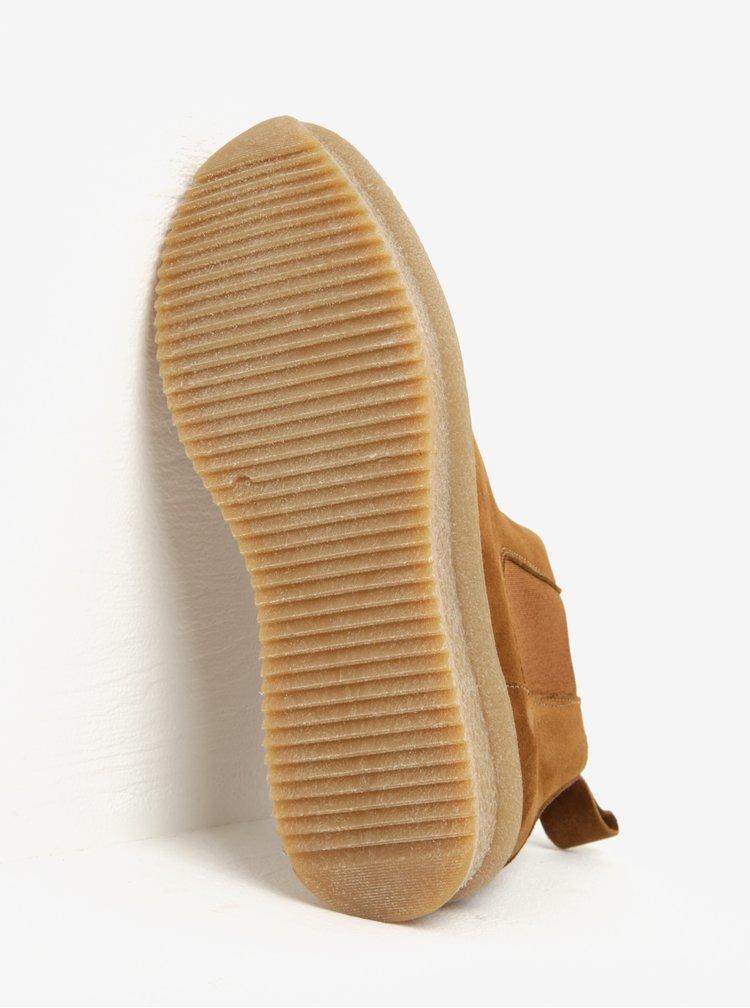 Hnědé semišové chelsea boty na platformě OJJU