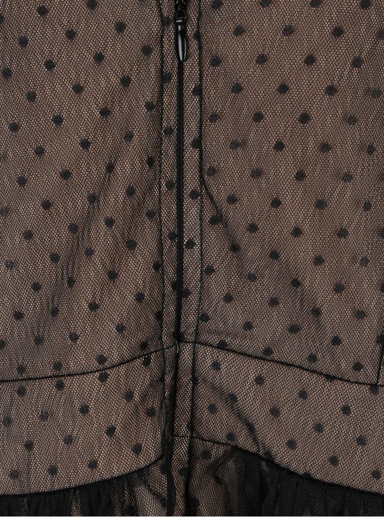 Krémovo-černé dlouhé puntíkované šaty Little Mistress