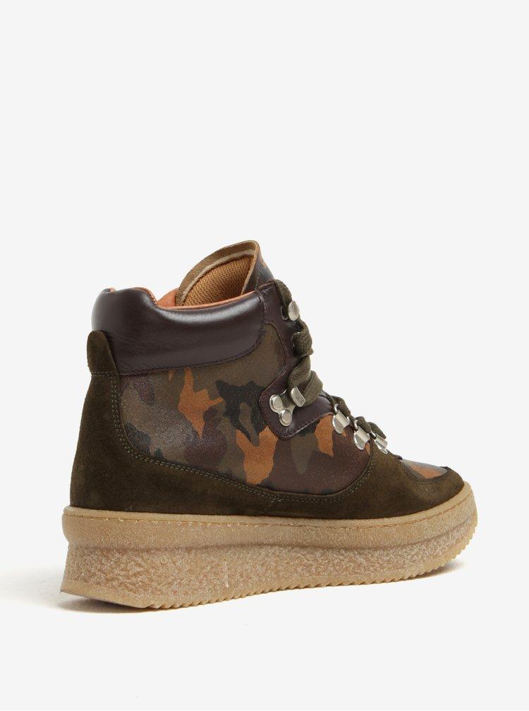 Khaki kožené kotníkové maskáčové boty na platformě OJJU