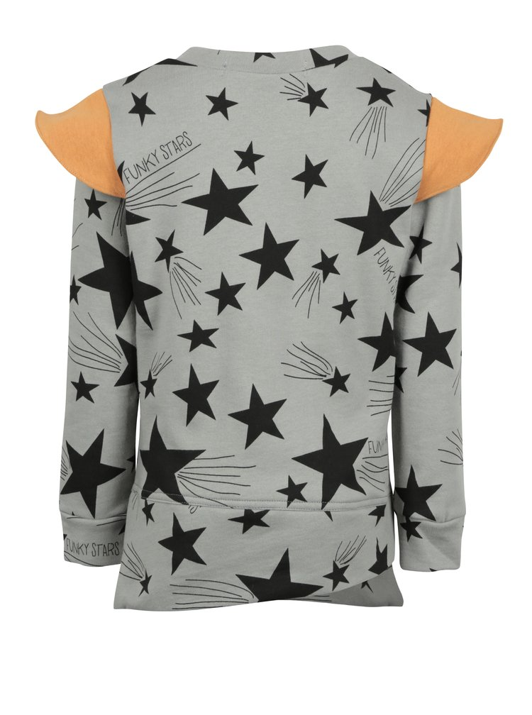 Šedá dětská mikina s motivem hvězd a oranžovými detaily 3fnky kids Stars