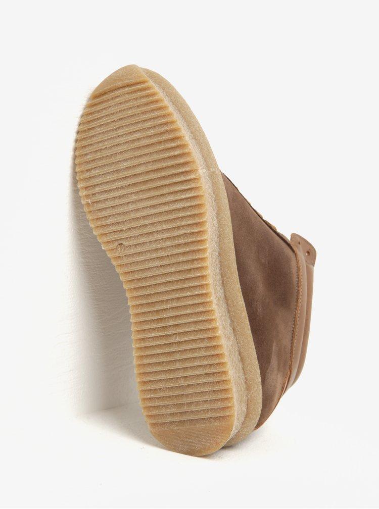 Hnědé semišové kotníkové tenisky na platformě OJJU